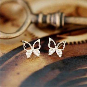Jewelry - Brand New Butterfly Stud Earrings in Gold